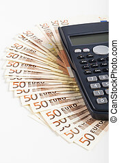 Fifty Euros - Fifty Euro banknotes with Black calculator...