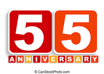 Fifty Five 55 Years Anniversary Label Sign for your Date. ...