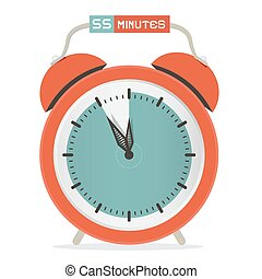 Fifty Five Minutes Stop Watch - Alarm Clock Vector Illustration