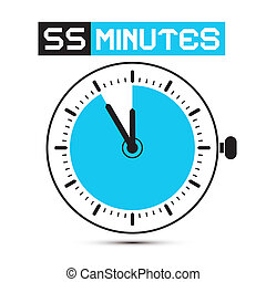 Fifty Five Minutes Stop Watch - Clock Vector Illustration