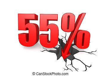 Fifty five percent down - Rendered artwork with white ...