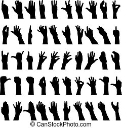Fifty hands gesturing black and white silhouettes