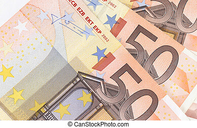 Fifty hundred euro banknotes in a row.