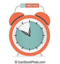 Fifty Minutes Stop Watch - Alarm Clock Vector Illustration