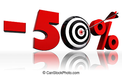 fifty per cent 50% red discount symbol with conceptual target