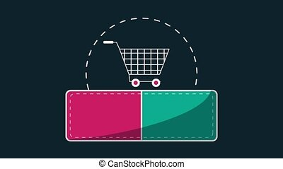Fifty percent dicounts with shopping cart HD animation