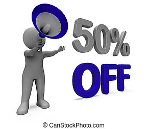 Fifty Percent Off Character Means Discount Price Or Sale 50%