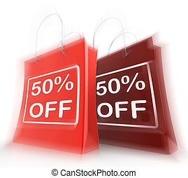Fifty Percent Off On Bags Shows 50 Bargains