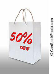fifty percent off on white paper bag