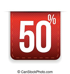 Fifty percent off ribbon red