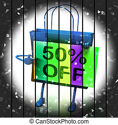 Fifty Percent Reduced On Bags Shows 50 Bargains