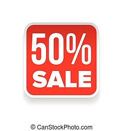Fifty percent Sale button red