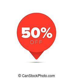 Fifty percent sale offer tag