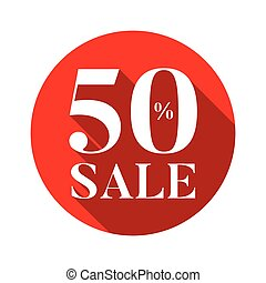 Fifty percent sale sign red
