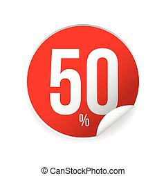 Fifty percent sale sticker red