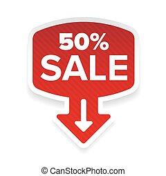 Fifty percent Sale sticker with arrow