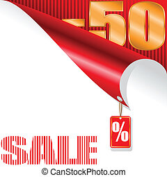fifty-percent sale - white and red background with gilded...