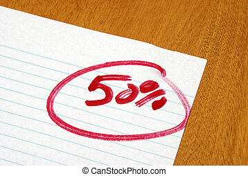 Fifty Percent - A graded paper letting the student know of...