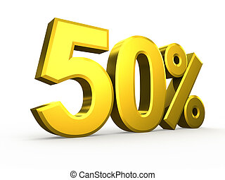 Fifty percent symbol on white background