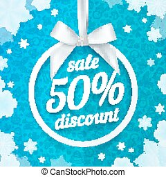 Fifty percents Christmas sale discount white ribbon tag with silky bow on blue background