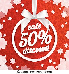 Fifty percents Christmas sale discount white ribbon tag with silky bow on red background