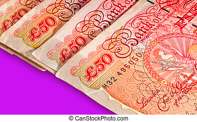 Fifty pounds sterling UK Currency - Macro shot with clipping...