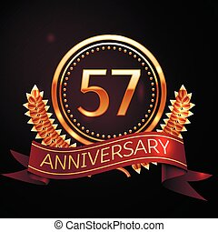 Fifty seven years anniversary celebration with golden ring...