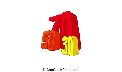 Fifty seventy and thirty discounts icon animation best object on white background