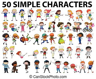 Fifty simple characters young and old