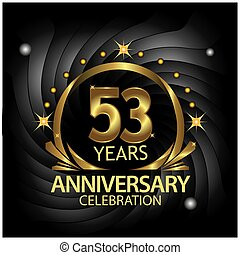 Fifty three years anniversary golden. anniversary template design for web, game ,Creative poster, booklet, leaflet, flyer, magazine, invitation card - Vector