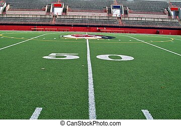 Fifty Yard Line - A sideline view of the fifty yard line on...