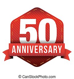 Fifty year anniversary badge with red ribbon