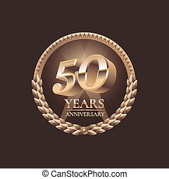 Fifty years anniversary celebration design. Golden seal logo