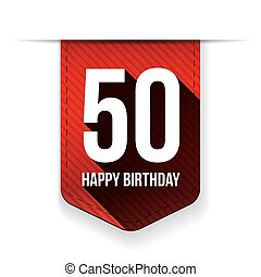 Fifty years happy birthday ribbon