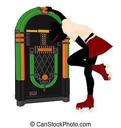 Fifty's Girl Illustration Silhouette - Girl on roller skates...