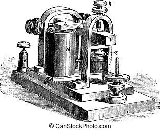 Fig. 10. Speaker. - A frame, L, rod, M, electromagnet; SS screws, vintage engraving.