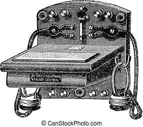 Fig. 6. - Telephone-Bell Ader, vintage engraving. - Fig. 6....