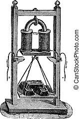 Fig. 7. - Electro-magnet weight load, vintage engraving. -...