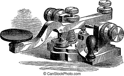 Fig. 8. Morse manipulator. - A, platinum-tipped or contact, a 'platinum extra contact, b contact the bottom plate; b' second platinum contact aditional; L, lever; S, leverage additional, vintage engraved illustration. Trousset encyclopedia (1886 - 1891).