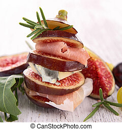fig, cheese and ham