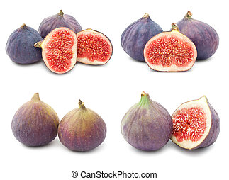 Fig - Collection of fresh fig fruits isolated on white...