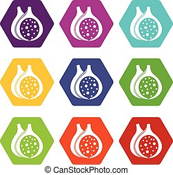 Fig fruit icon set color hexahedron