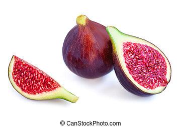 Fig fruit Isolated. Fresh Purple Figs on white background. Close up