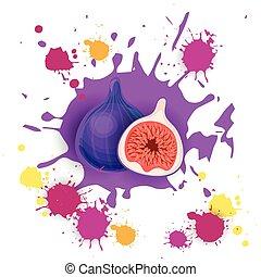Fig Fruit Logo Watercolor Splash Design Fresh Natural Food...