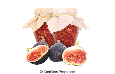 Fig fruits and fig jam isolated on white