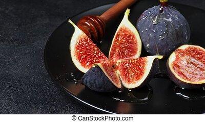 Fig isolated on dark concrete background - Fresh Organic Fig...