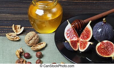 Fig isolated on wooden background - Fresh Organic Fig...