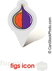 Fig pin map icon. Fig tropical fruit sign