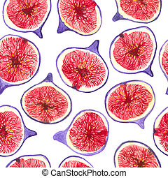 Fig slices watercolor pattern - Fig slices watercolor...