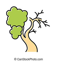 Fig tree color icon. Old half dead tree. Healthy leaved part and dying part symbol. Biblical plant of life. Bible narrative. Gospel story. Isolated vector illustration